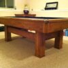 Corner side view of a Brunswick Highlander pool table
