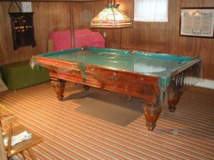 Antique 8' Brunswick-Balke-Collender Union League Pool Table