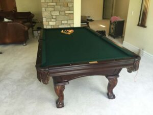 Used Olhausen Santa Ana pool table for sale with ball and claw legs