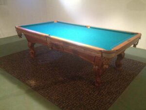 Olhausen Montrachet pool table setup in our showroom. For sale and ready to ship!