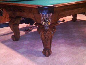 Legs and corner view of Peter Vitale Vineyard snooker table