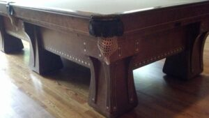 The 1910 Hudson Pool table by Brunswick-Balke-Collender is truly a piece of billiard history!
