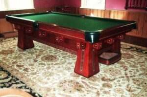 Antique Brunswick Kling pool table for sale.