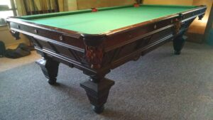 Brunswick Balke Collender Manhatten pool table. Great view of this table from the corner.