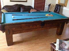 Mission style B pool table from Brunswick-Balke-Collender 1908 rare collectors table.